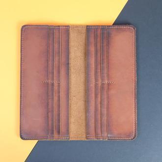Кожаный кошелек Лонг 12 карт Винтажная кожа