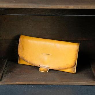 """Шкіряний гаманець, Клатч """"Батерфляй 2"""", шкіра краст, колір Бурштин"""