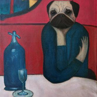 Мопсассо - Любительница абсента. Портрет мопса. Картина маслом