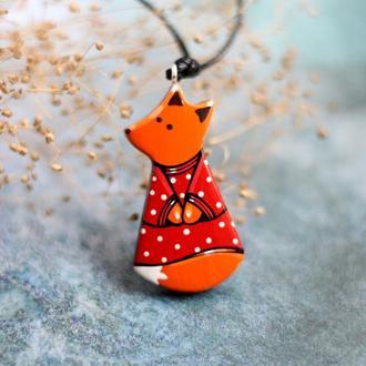 Кулон лисичка из дерева.Подарок девушке