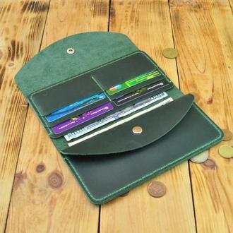 Необычный кожаный кошелек с отдельным карманом для мелочей