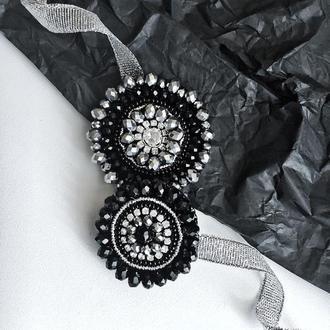 Черные круглые броши с камнями на свитер, брошь на пальто, набор брошей.