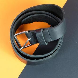 Кожаный пояс под брюки цвет Черный