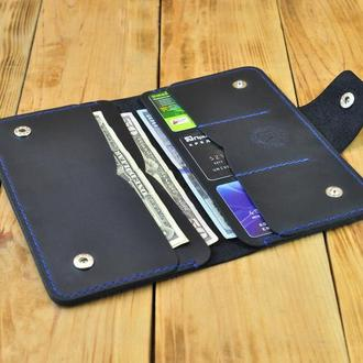 Стильное портмоне с большими отделениями для купюр, бумаг, документов