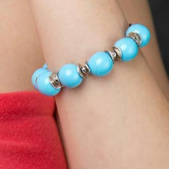 """Голубой браслет из керамики """"Blue Eyes"""" ручной работы"""