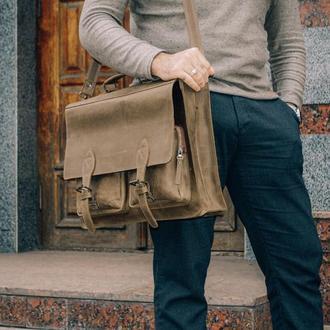 Мужской портфель из зеленой винтажной кожи