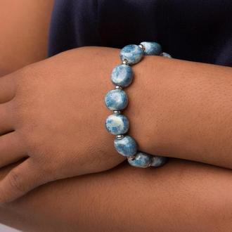 """Голубой браслет из керамики """"Frosty Touch"""" ручной работы"""