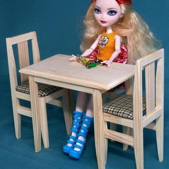 Стол и 2 стула набор 1:6 для кукол Барби