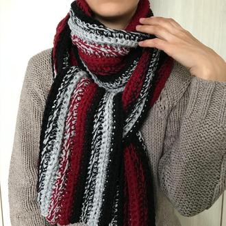 Вязаный шарф крупной вязки крючком Размер 2м35см х 20см