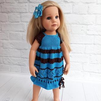 Голубое вязаное платье на куклу Готц 50 см, подарок девочке