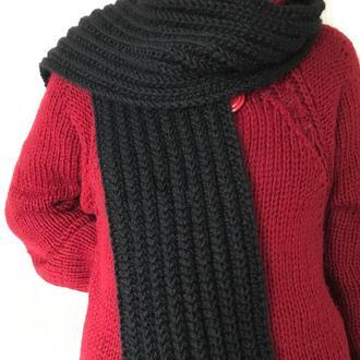 Шарф вязаный. Длинный шарф. Черный. Шарф крупной вязки. Размер 2м х 20 см