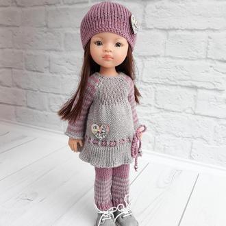 Зимний вязаный комплект на куклу Паола 32 см, одежда на куклу Паола Рейна 32 см, подарок девочке