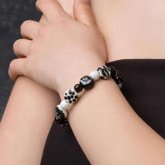 """Черно - белый браслет из керамики """"White Tiger"""""""