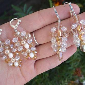 Весільні сережки, сережки для нареченої, весільні прикраси для нареченої