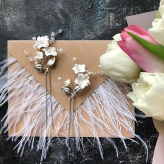 шпильки с цветами шпильки для волос шпильки в прическу