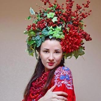 Венок калина пышный венчик красный украинский фотосессия красный венок корона