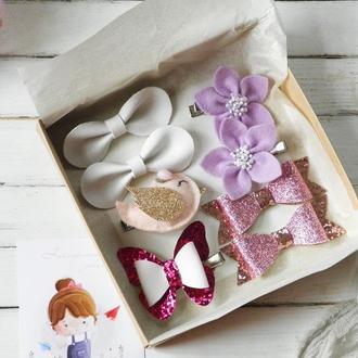 Подарочный набор заколок для девочки / Заколки резинки для волос в подарок