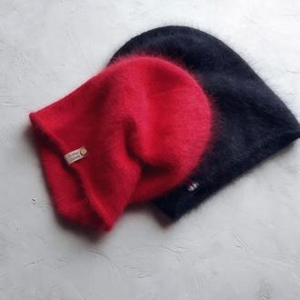 Шапка вязаная, женская, шапка из ангоры