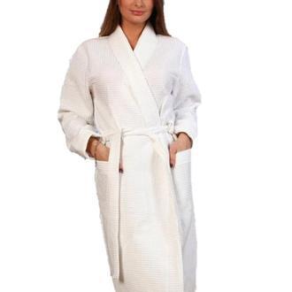 Вафельный халат Luxyart Кимоно, размер мужской (54-56) XL, 100% хлопок, белый, (LS-041)