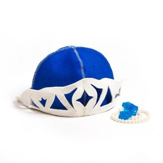 """Банная шапка Luxyart """"Снежная королева"""", натуральный войлок, синий (LA-094)"""