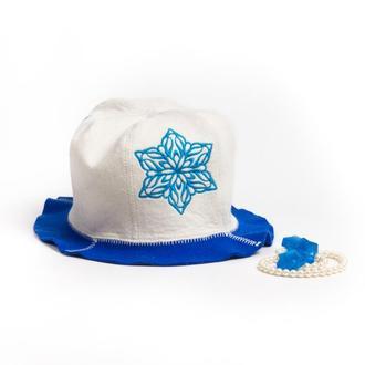 """Банная шапка Luxyart """"Снежинка"""", натуральный войлок, белый с синим (LA-093)"""