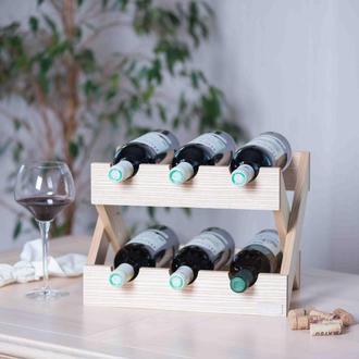 Стеллаж для бутылок. Подставка для 6 бутылок вина из дерева.