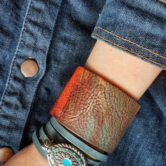 Натуральная кожа.  Набор браслетов в стиле бохо