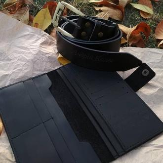 Набір шкіряне портмоне з шкіряним ременем, ручної роботи