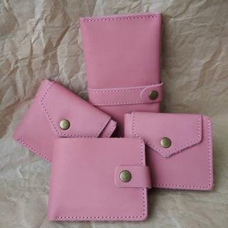 Комплект аксесуарів з Натруальної Шкіри Розового Кольору