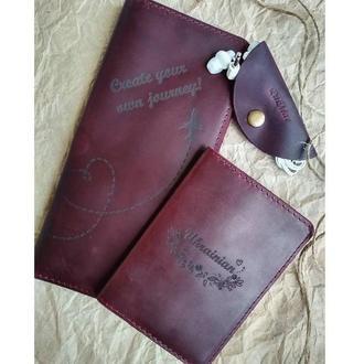 Шкіряний набір з тревел-кейса, обкладинки для паспорта та кліпси для навушників