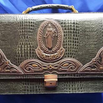 """Кожаный портфель """"ФЕМИДА"""" с инициалами"""