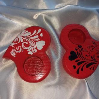 Набор деревянных подсвечников в виде двух сердец, валентинки с росписью