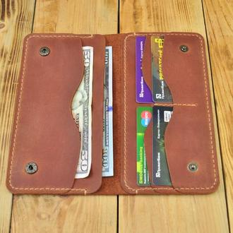 Кожаный кошелек - портмоне из стильной молнией сзади