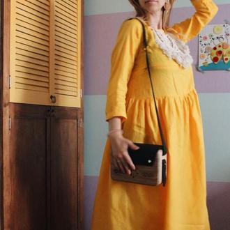 Льняна міді сукня з довгим рукавом, декорована макраме. Величезна палітра кольорів