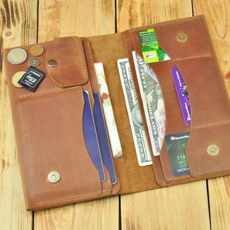 Макси портмоне из натуральной кожи с отдельным карманом для паспорта