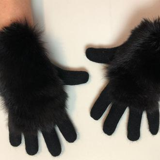 Утепленные натуральным мехом кролика перчатки, черные перчатки с мехом
