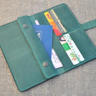 Кожаное портмоне ручной работы для денег и документов K11-350