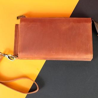 Кожаный кошелек Тревел с ремешком