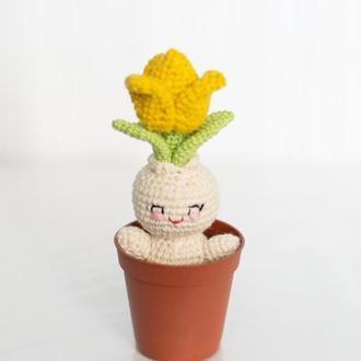 Желтый тюльпан, вязаный человечек крючком, вязаный цветок, амигуруми