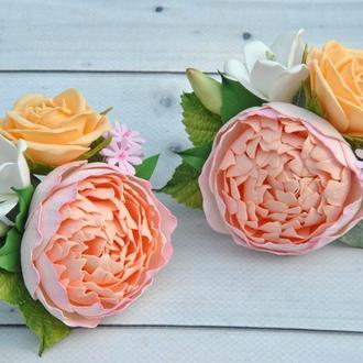 Резинки для волос с цветами Пион розы резинки для девочки цветочные