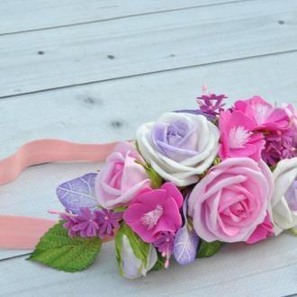 Повязочка для ребенка с цветами Розовые фиолетовые цветы повязка для девочки