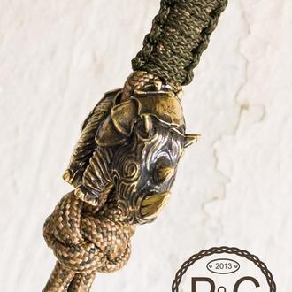 Брелок Носорог для ножа, на ключницу, бронза