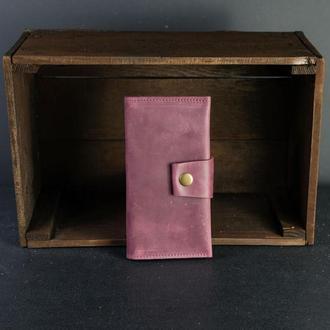 Кожаный кошелек Berty 18см, кожа Crazy Horse, цвет Бордо