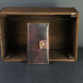 Кожаный кошелек Berty 18см, кожа итальянский краст, цвет Вишня
