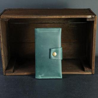 Кожаный кошелек Berty 18см, кожа Crazy Horse, цвет Зеленый