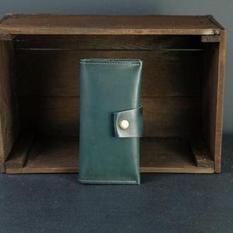 Кожаный кошелек Berty 18см, кожа итальянский краст, цвет Зеленый