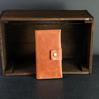 Кожаный кошелек Berty 18см, кожа Crazy Horse, цвет Коньяк