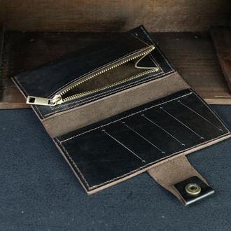 Кожаный кошелек Berty 18см, кожа итальянский краст, цвет Кофе
