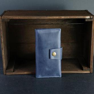 Шкіряний гаманець Berty 18см, шкіра Crazy Horse, колір Синій