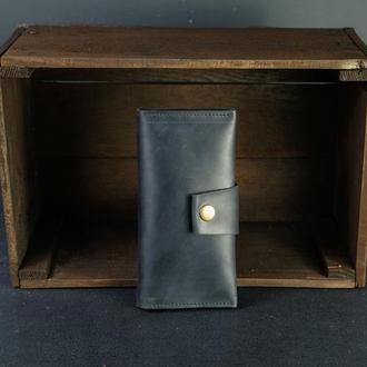 Шкіряний гаманець Berty 18см, шкіра Crazy Horse, колір Чорний